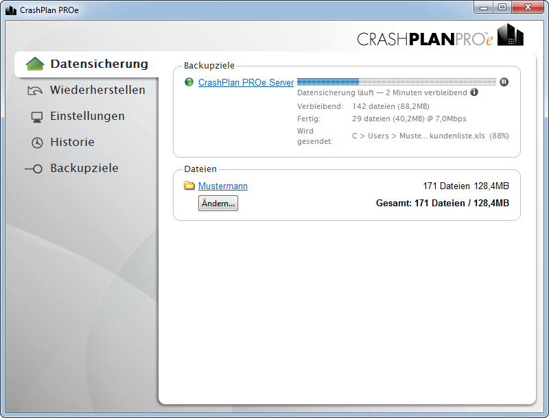 CrashPlan Screenshot: Backup start