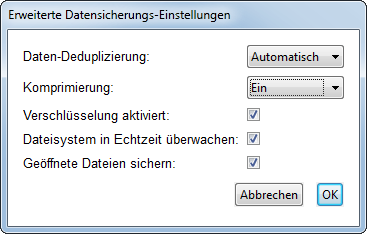 CrashPlan Screenshot: Einstellungen