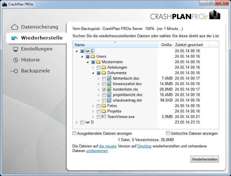 CrashPlan Screenshot: Restore Auswahl