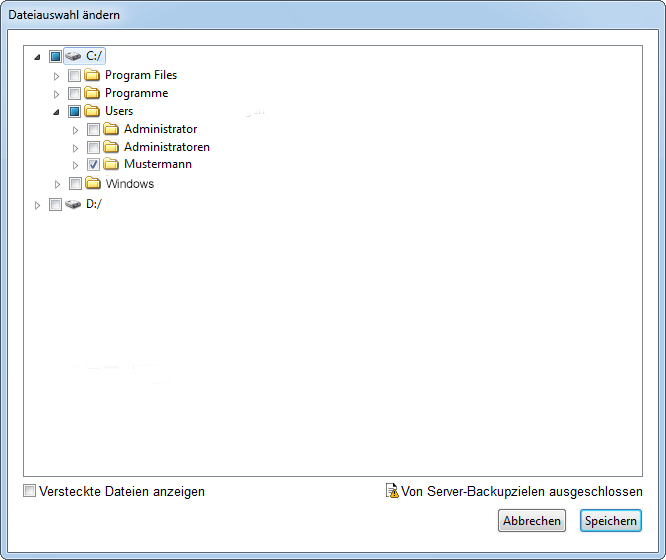 CrashPlan Screenshot: Verzeichnisauswahl