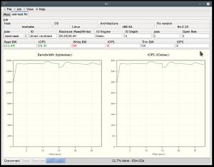 Das grafische Frontend gfio mit einem 4 KiB-Lese-Job auf einer Intel SSD 320 in einem ThinkPad T520