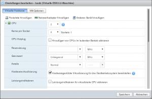 ESX Host-Client: CPU-Einstellungen für Proxmox-VM