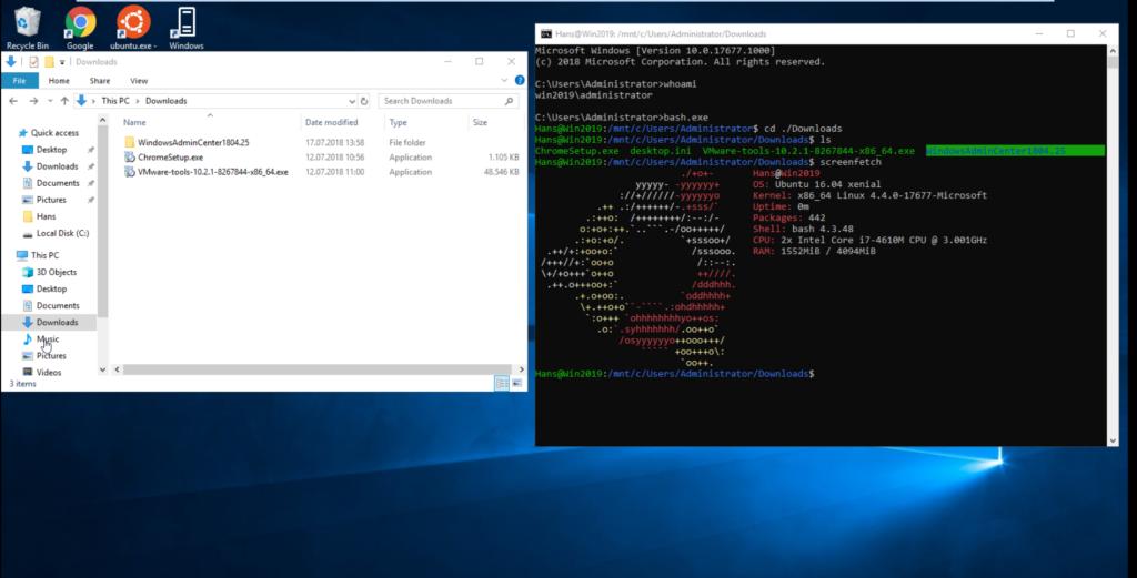 Screenshot Linux-Bash in der Eingabeaufforderung